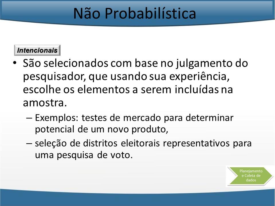 Não Probabilística Intencionais.