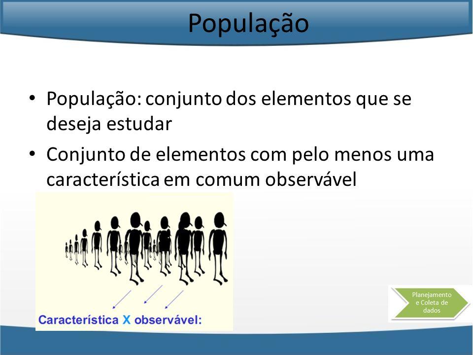 População População: conjunto dos elementos que se deseja estudar