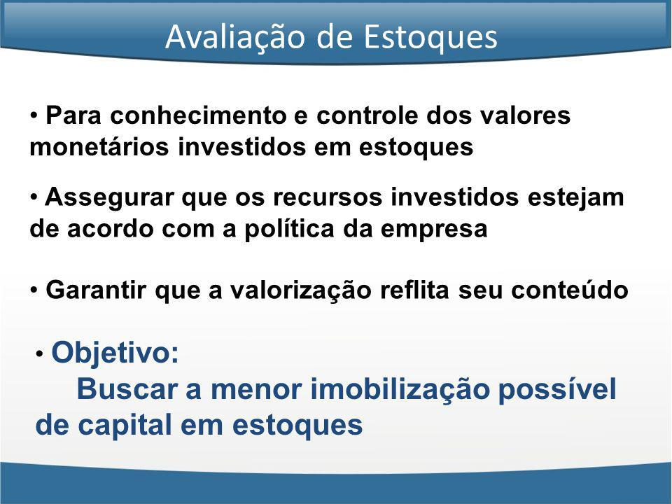 Avaliação de Estoques Para conhecimento e controle dos valores monetários investidos em estoques.