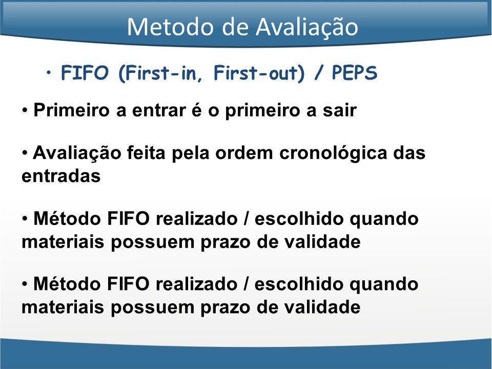 Metodo de Avaliação FIFO (First-in, First-out) / PEPS