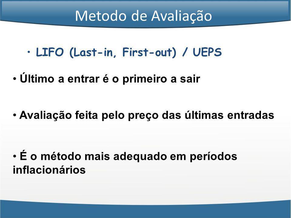 Metodo de Avaliação LIFO (Last-in, First-out) / UEPS