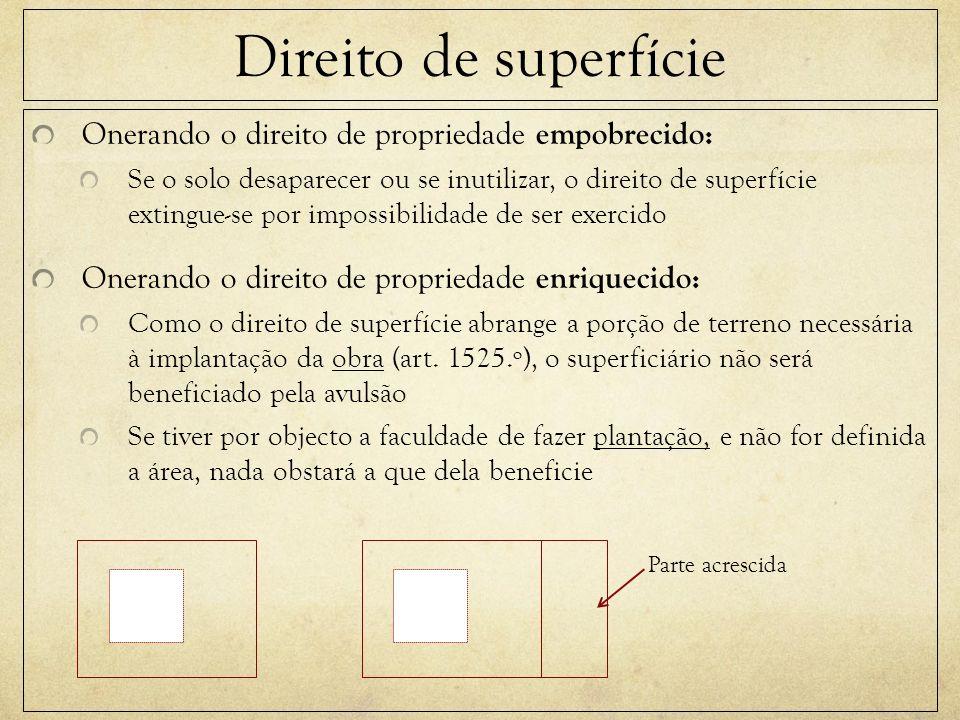 Direito de superfície Onerando o direito de propriedade empobrecido: