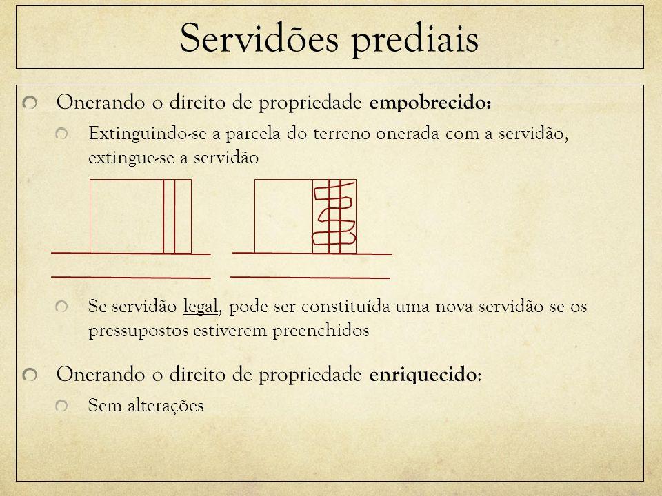 Servidões prediais Onerando o direito de propriedade empobrecido: