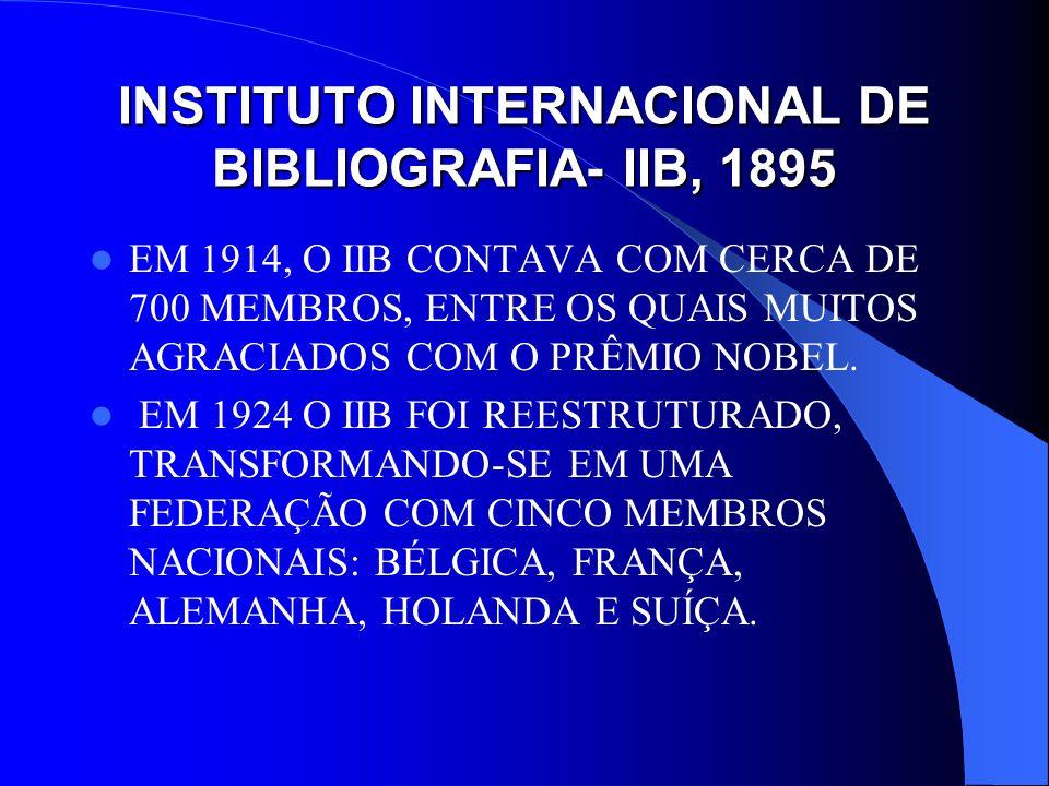 INSTITUTO INTERNACIONAL DE BIBLIOGRAFIA- IIB, 1895