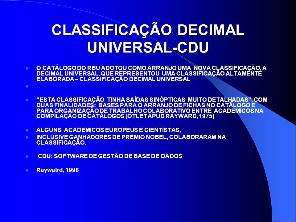 CLASSIFICAÇÃO DECIMAL UNIVERSAL-CDU