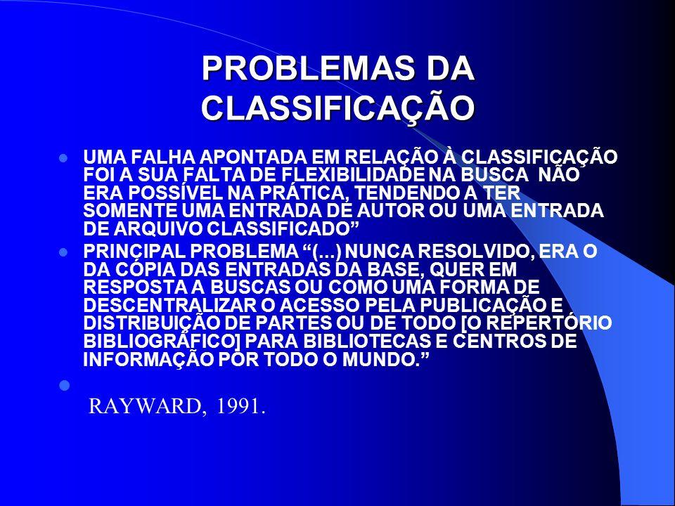 PROBLEMAS DA CLASSIFICAÇÃO
