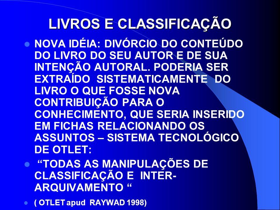 LIVROS E CLASSIFICAÇÃO