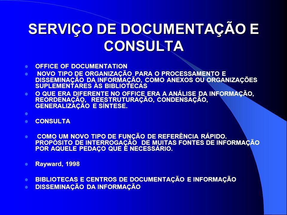 SERVIÇO DE DOCUMENTAÇÃO E CONSULTA