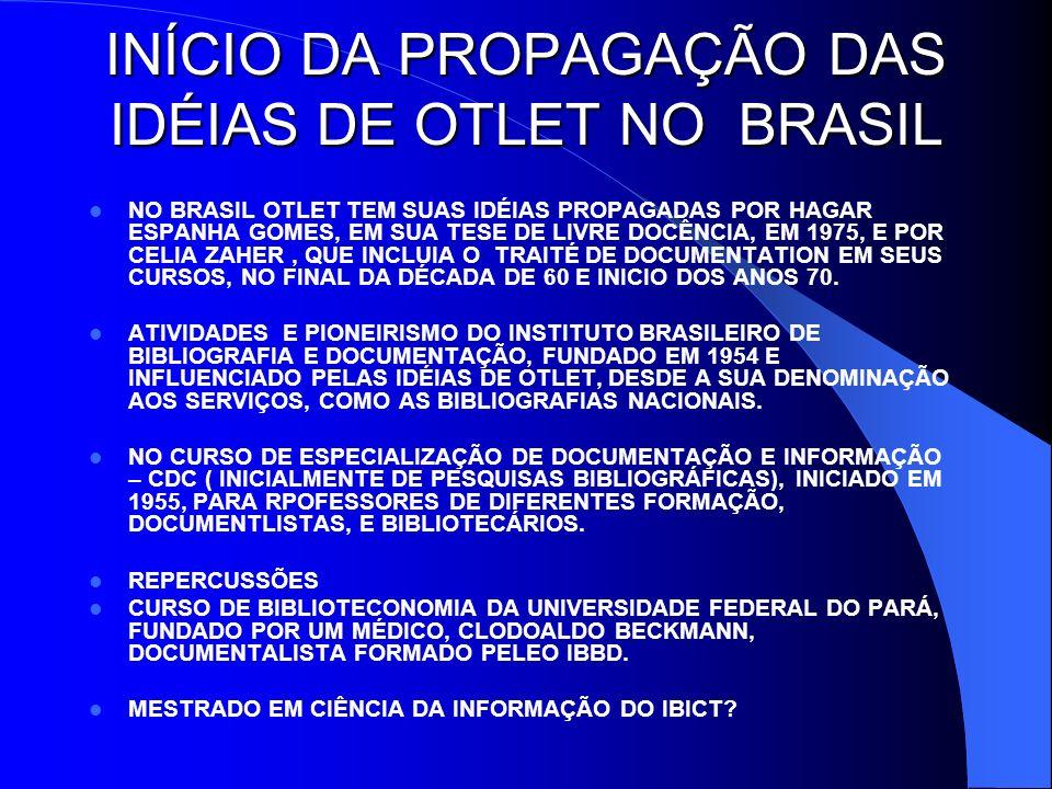 INÍCIO DA PROPAGAÇÃO DAS IDÉIAS DE OTLET NO BRASIL