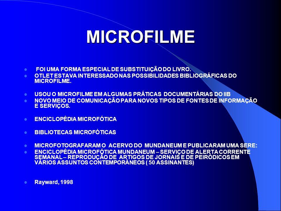 MICROFILME FOI UMA FORMA ESPECIAL DE SUBSTITUIÇÃO DO LIVRO.