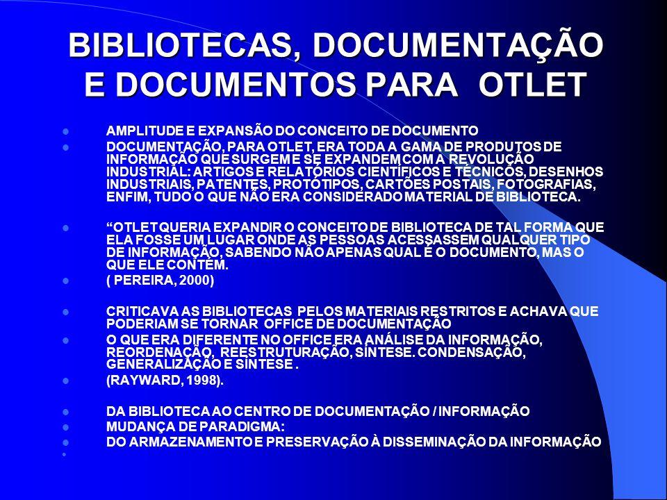 BIBLIOTECAS, DOCUMENTAÇÃO E DOCUMENTOS PARA OTLET