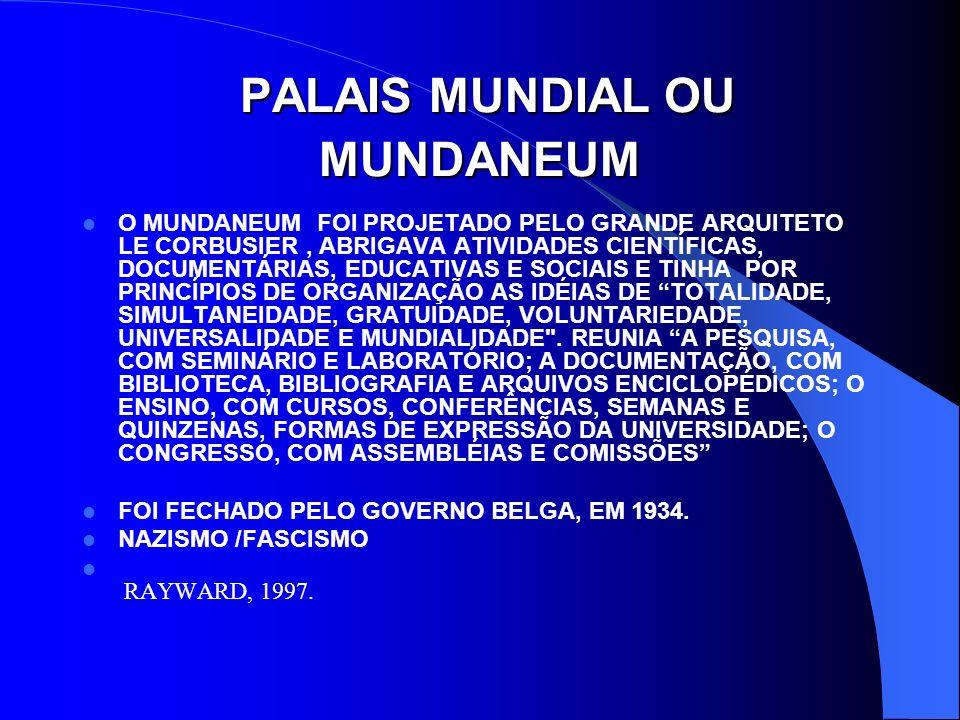 PALAIS MUNDIAL OU MUNDANEUM