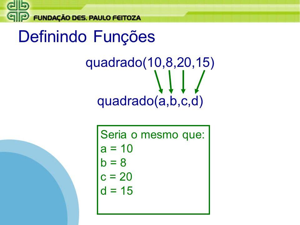 Definindo Funções quadrado(10,8,20,15) quadrado(a,b,c,d)