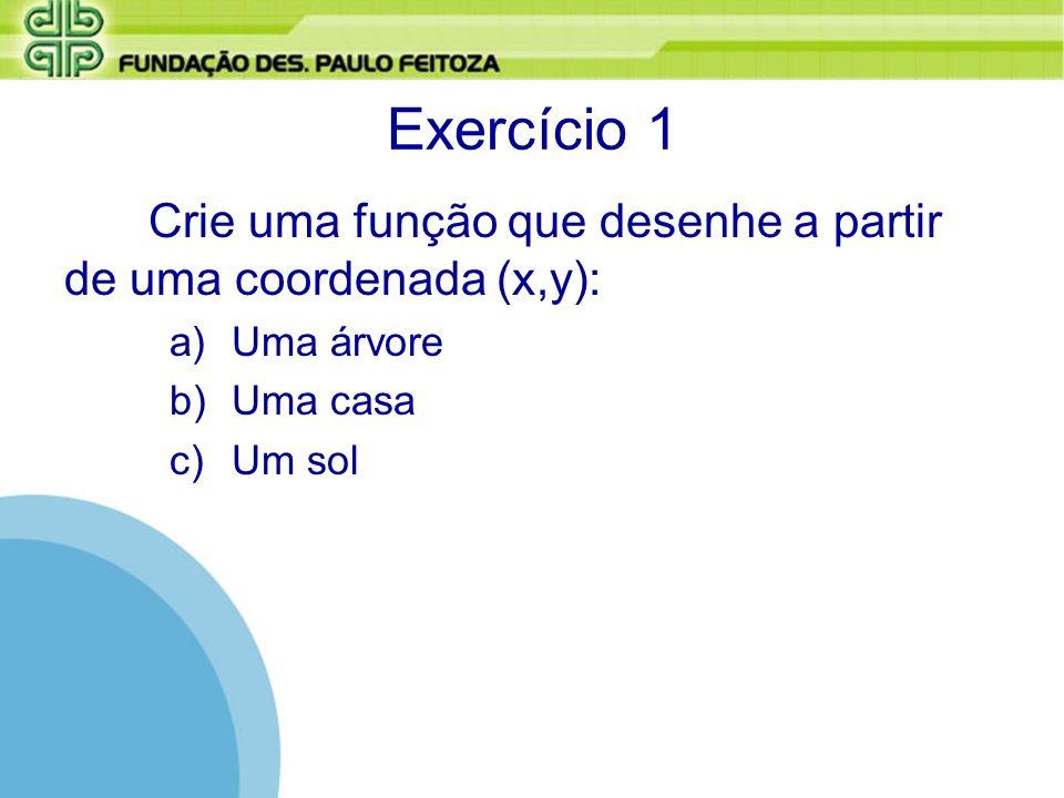 Exercício 1 Crie uma função que desenhe a partir de uma coordenada (x,y): Uma árvore.