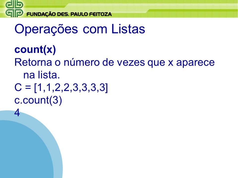 Operações com Listas count(x)