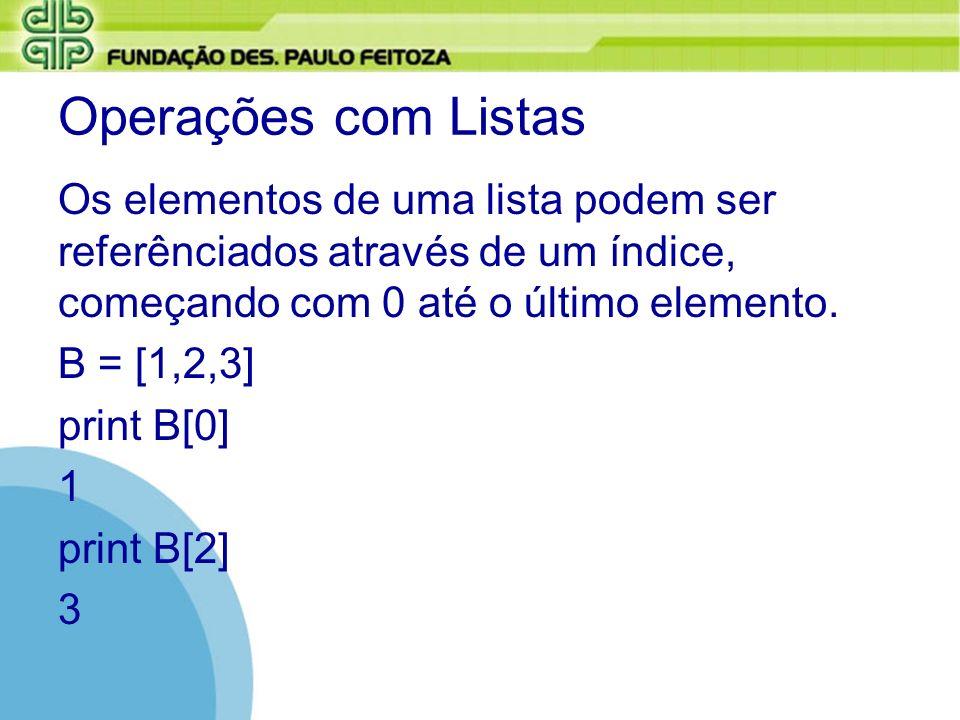 Operações com ListasOs elementos de uma lista podem ser referênciados através de um índice, começando com 0 até o último elemento.