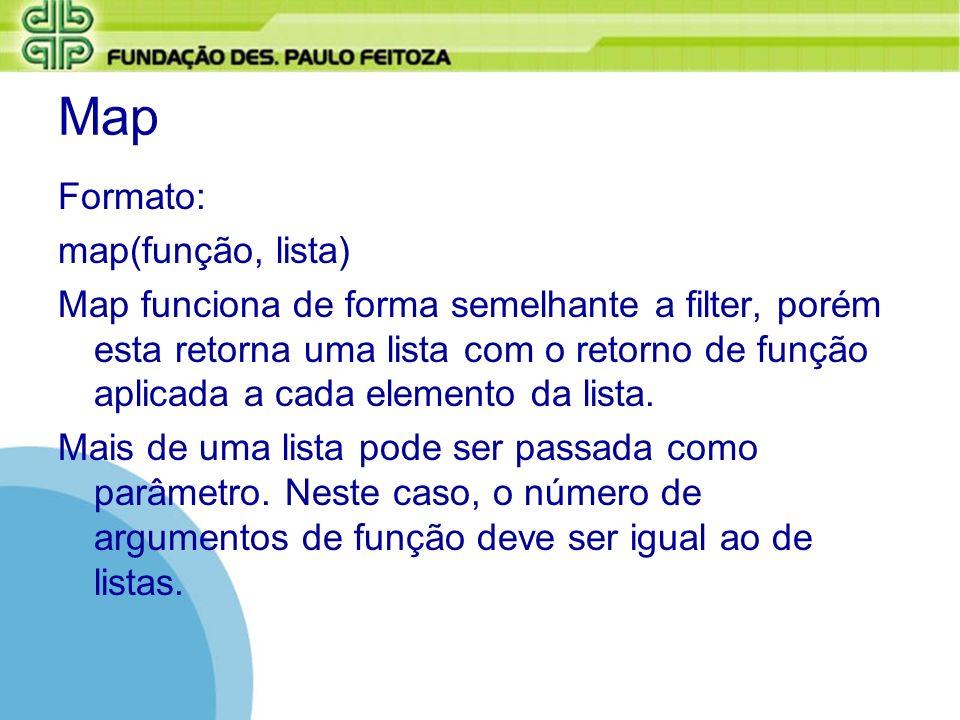 Map Formato: map(função, lista)