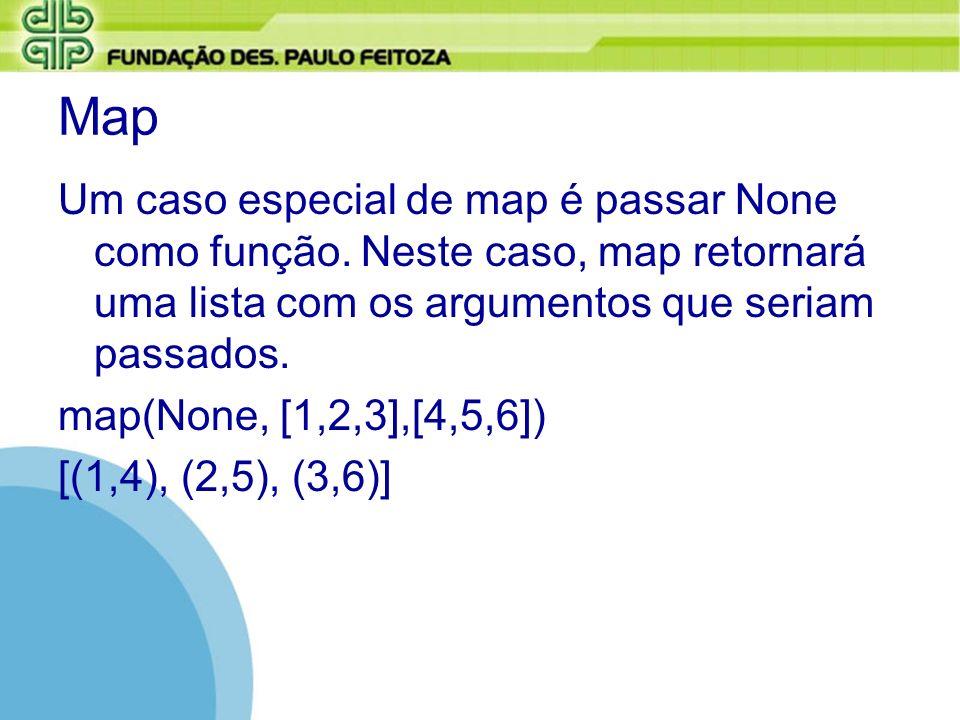 MapUm caso especial de map é passar None como função. Neste caso, map retornará uma lista com os argumentos que seriam passados.