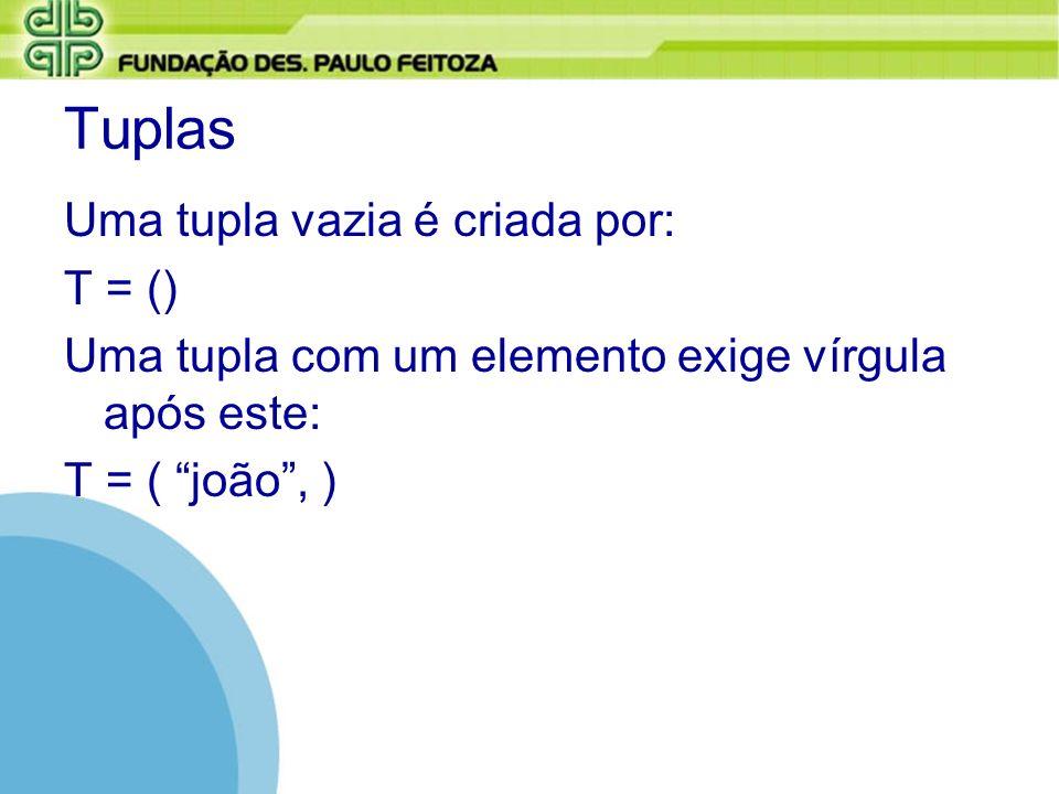 Tuplas Uma tupla vazia é criada por: T = ()