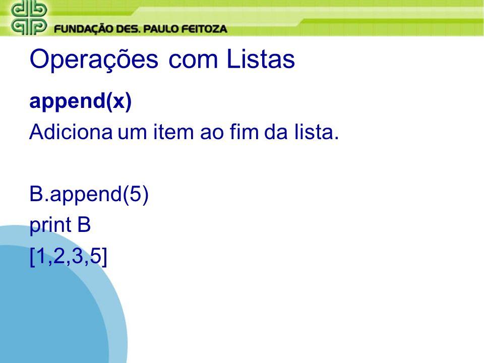Operações com Listas append(x) Adiciona um item ao fim da lista.