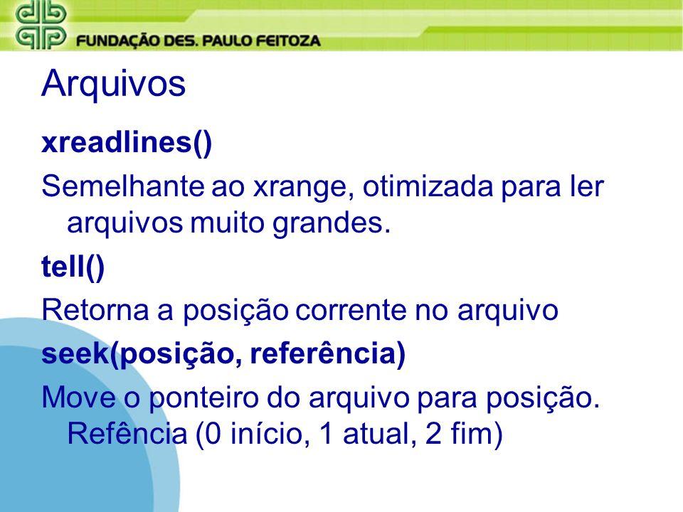 Arquivos xreadlines()