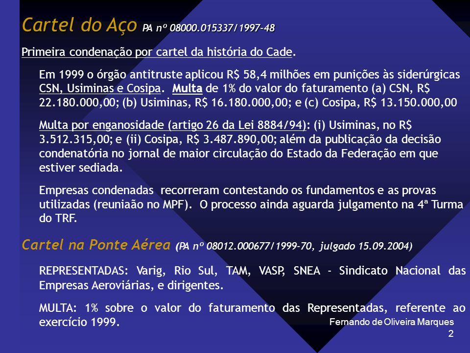 Cartel do Aço PA nº 08000.015337/1997-48 Primeira condenação por cartel da história do Cade.