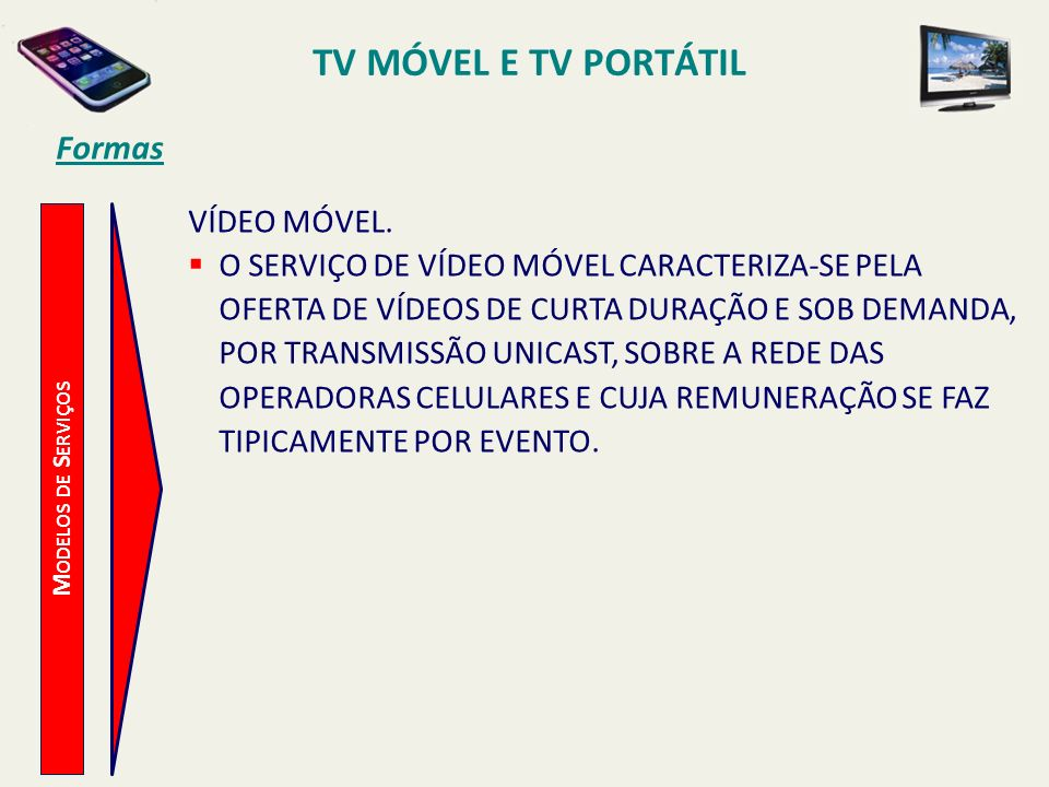 TV MÓVEL E TV PORTÁTIL Formas VÍDEO MÓVEL.