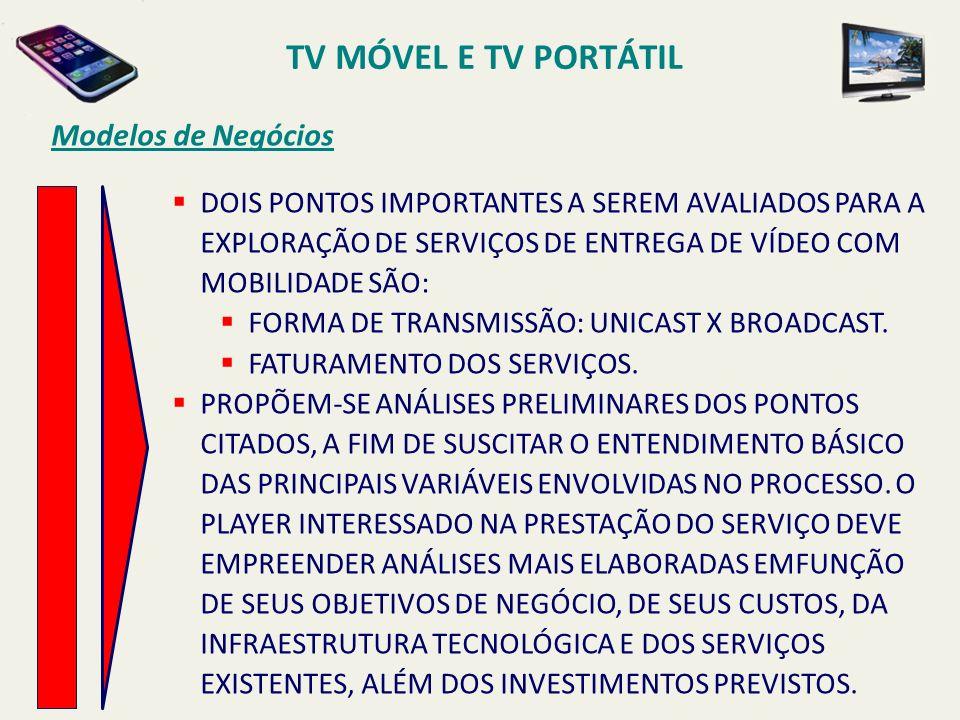 TV MÓVEL E TV PORTÁTIL Modelos de Negócios