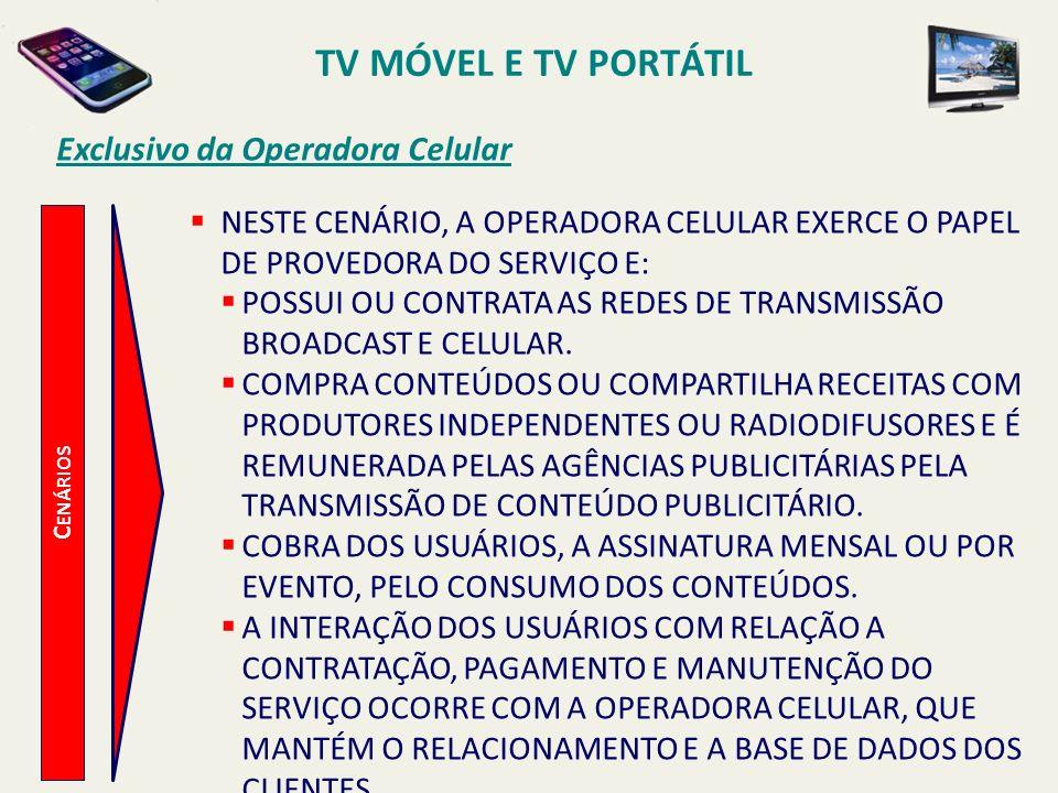 TV MÓVEL E TV PORTÁTIL Exclusivo da Operadora Celular