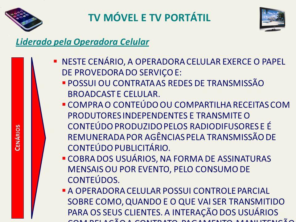 TV MÓVEL E TV PORTÁTIL Liderado pela Operadora Celular