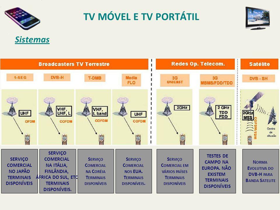 TV MÓVEL E TV PORTÁTIL Sistemas SERVIÇO COMERCIAL NO JAPÃO TERMINAIS
