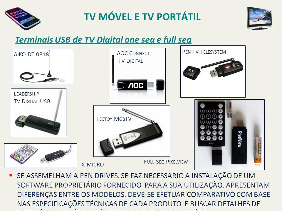 TV MÓVEL E TV PORTÁTIL Terminais USB de TV Digital one seg e full seg
