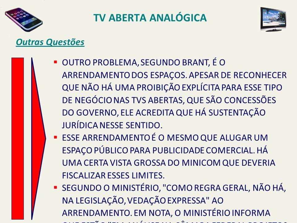 TV ABERTA ANALÓGICA Outras Questões
