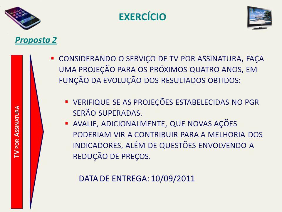 EXERCÍCIO Proposta 2 DATA DE ENTREGA: 10/09/2011