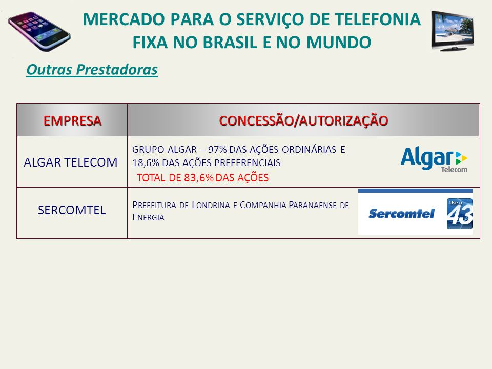 MERCADO para o Serviço de Telefonia fixa no Brasil e no mundo