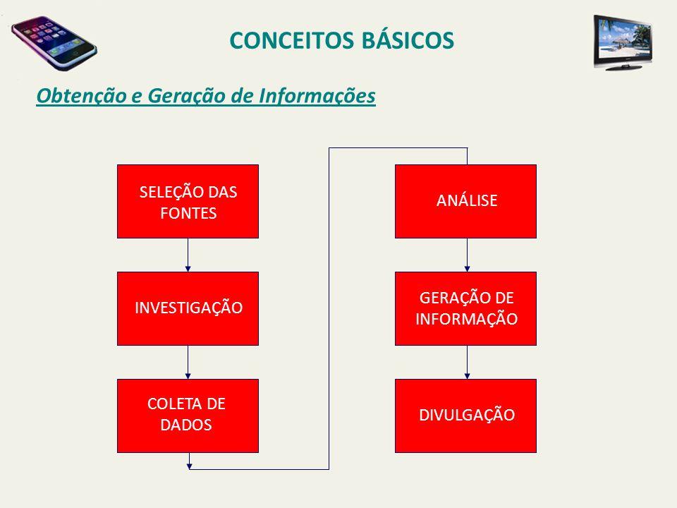 CONCEITOS BÁSICOS Obtenção e Geração de Informações SELEÇÃO DAS FONTES
