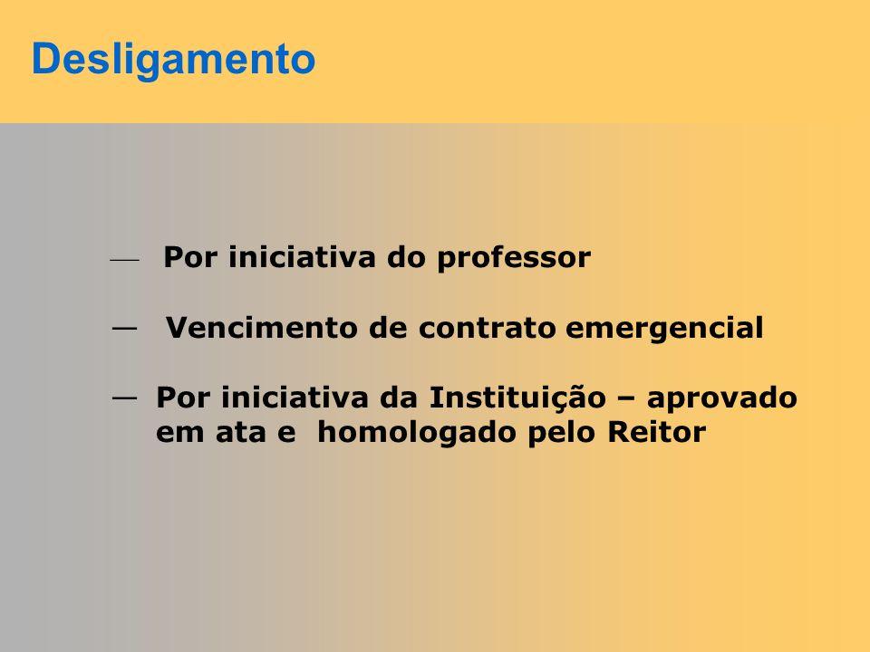 Desligamento Por iniciativa do professor
