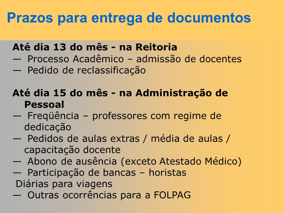 Prazos para entrega de documentos