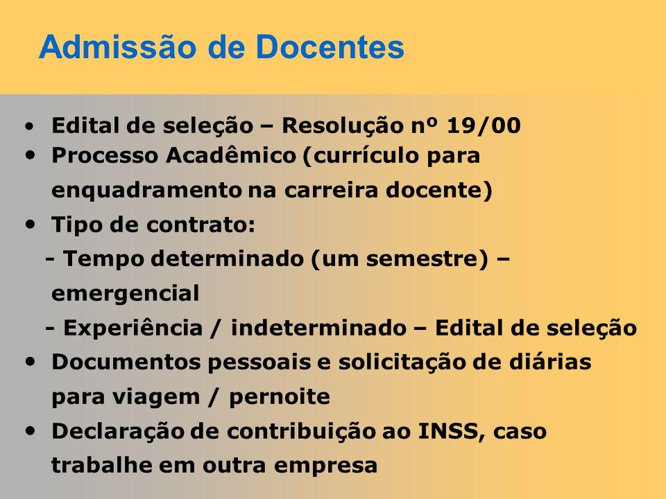 Admissão de Docentes Edital de seleção – Resolução nº 19/00