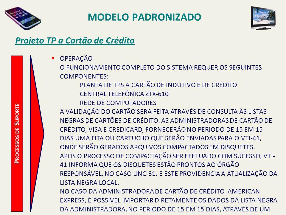 MODELO PADRONIZADO Projeto TP a Cartão de Crédito OPERAÇÃO