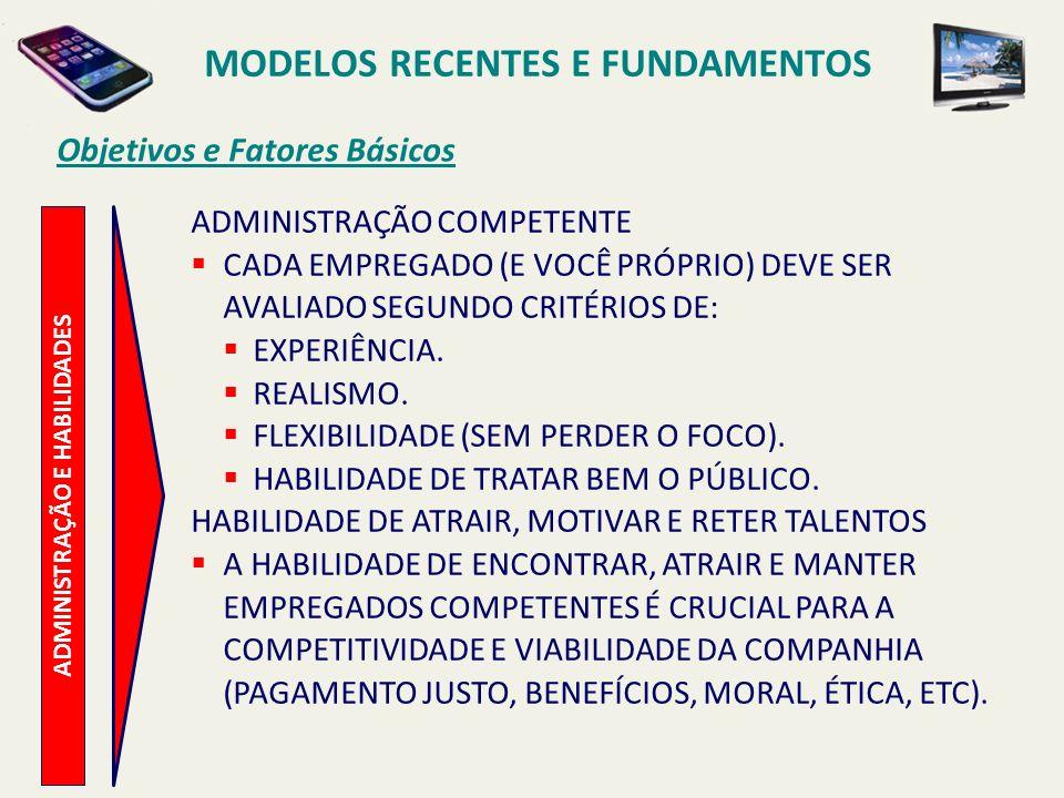 MODELOS RECENTES E FUNDAMENTOS ADMINISTRAÇÃO E HABILIDADES
