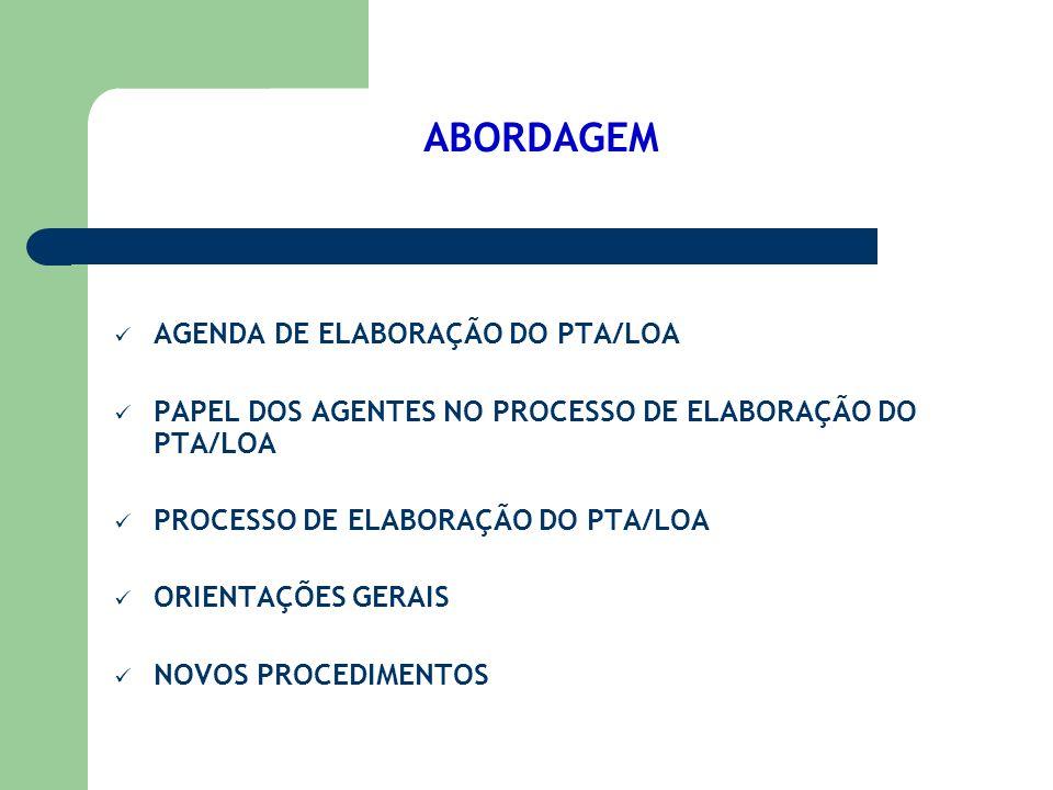 ABORDAGEM AGENDA DE ELABORAÇÃO DO PTA/LOA