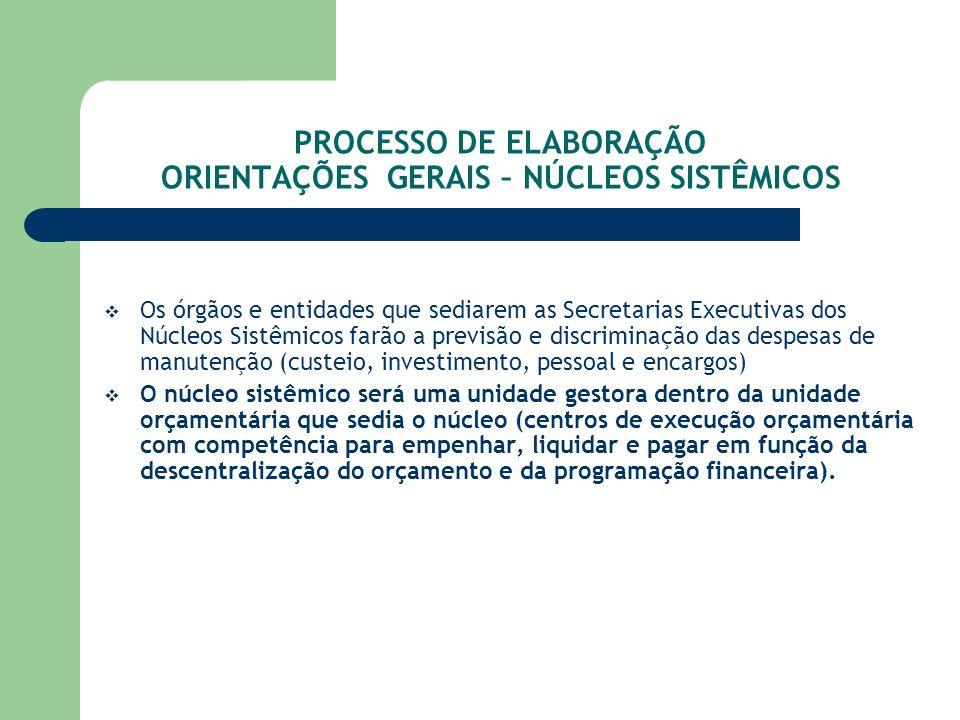 PROCESSO DE ELABORAÇÃO ORIENTAÇÕES GERAIS – NÚCLEOS SISTÊMICOS