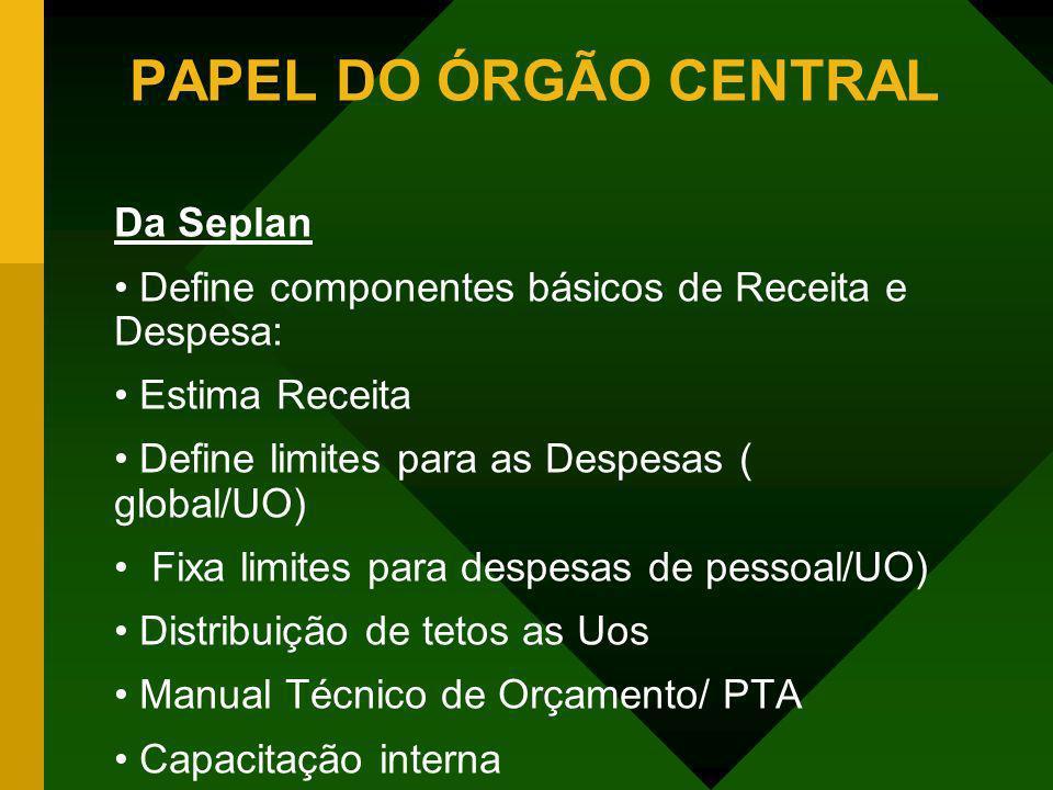 PAPEL DO ÓRGÃO CENTRAL Da Seplan
