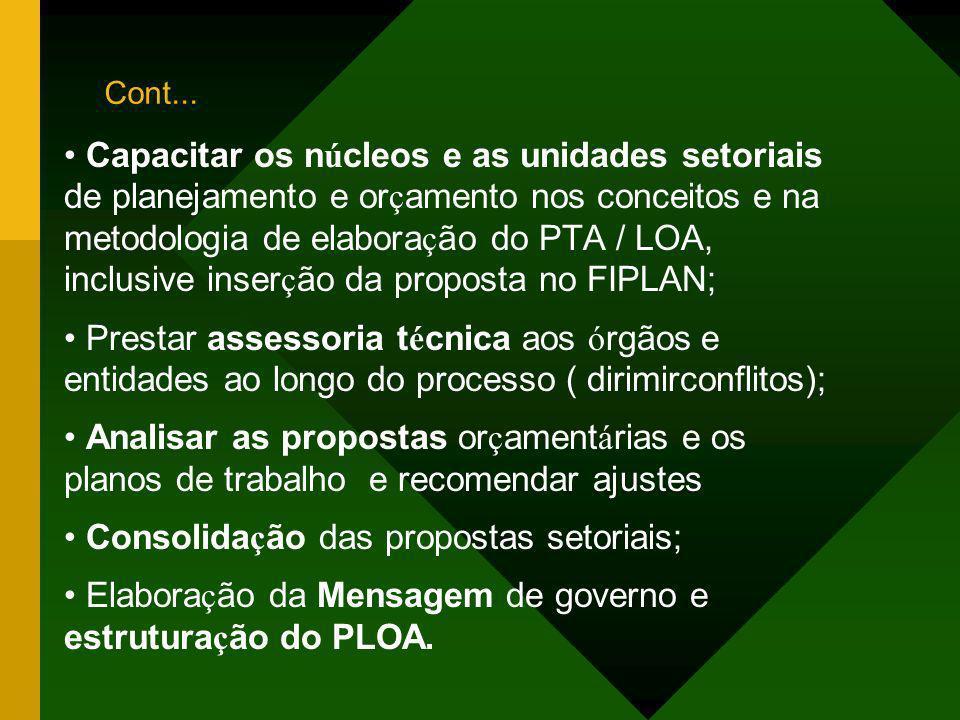 • Consolidação das propostas setoriais;