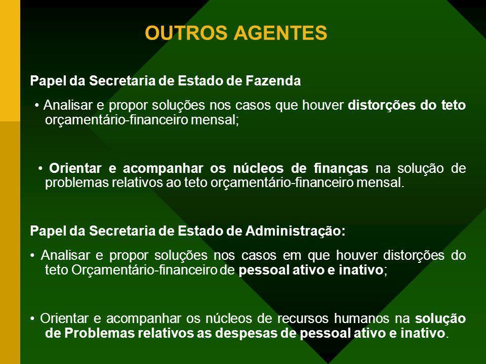 OUTROS AGENTES Papel da Secretaria de Estado de Fazenda