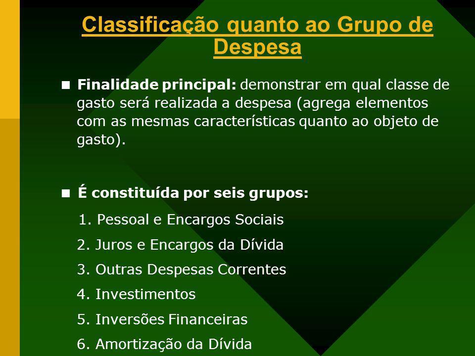 Classificação quanto ao Grupo de Despesa