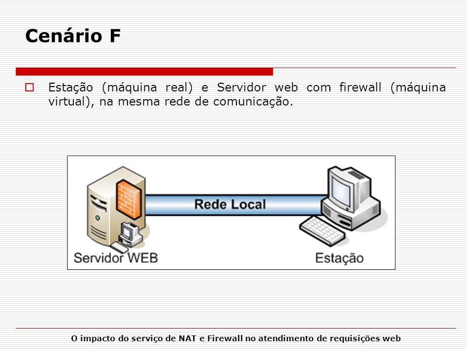 Cenário F Estação (máquina real) e Servidor web com firewall (máquina virtual), na mesma rede de comunicação.