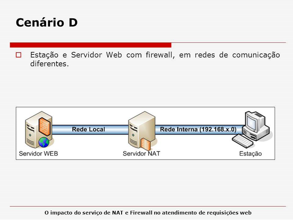 Cenário D Estação e Servidor Web com firewall, em redes de comunicação diferentes.