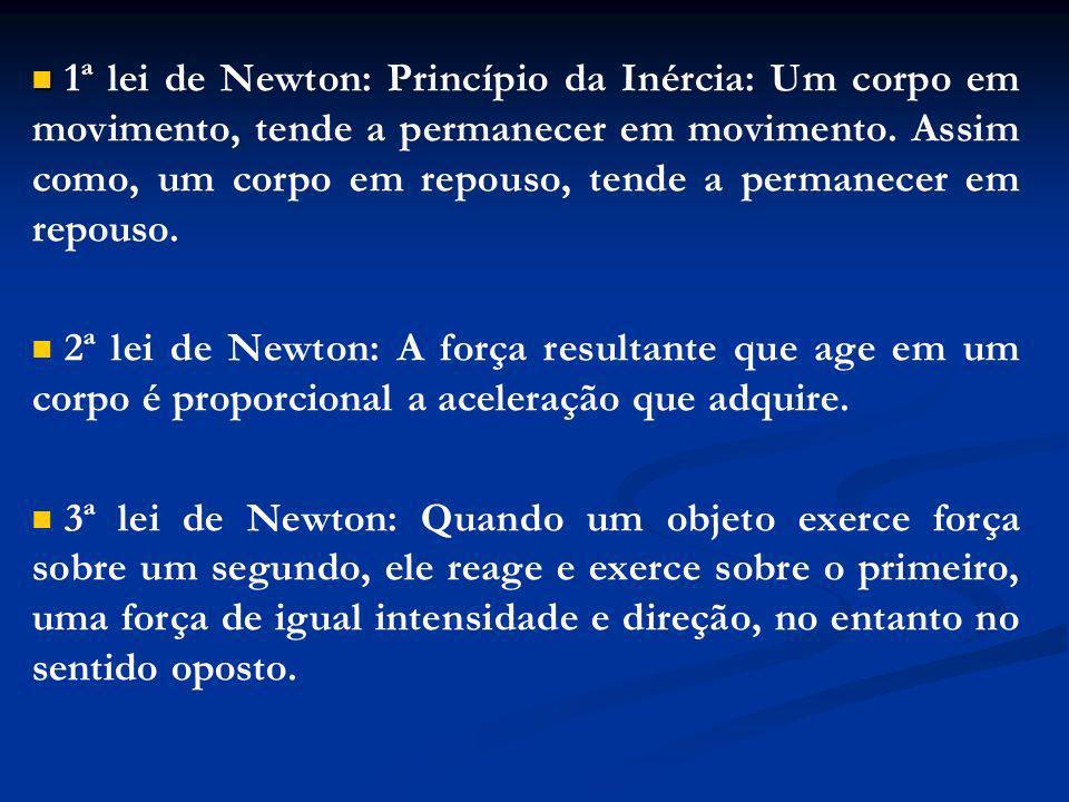 1ª lei de Newton: Princípio da Inércia: Um corpo em movimento, tende a permanecer em movimento. Assim como, um corpo em repouso, tende a permanecer em repouso.